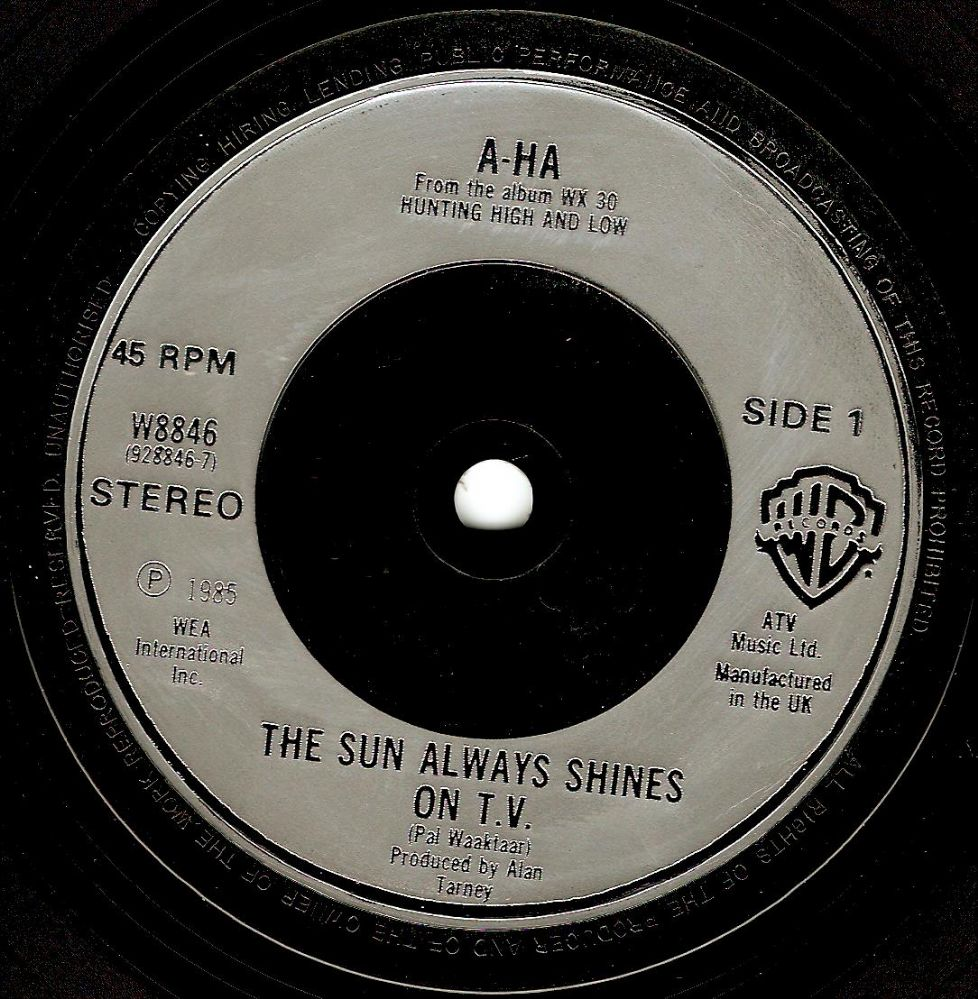 A-HA The Sun Always Shines On T.V. Vinyl Record 7 Inch Warner Bros. 1985